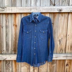 Vintage Wrangler Denim Snap Button Rodeo Shirt
